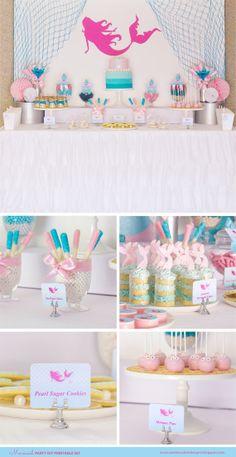 MERMAID Birthday Party Printable Set - Mermaid Party - Personalized - You Print