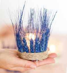 #DIY dyed wheat tea lights. Step-by-step #tutorial