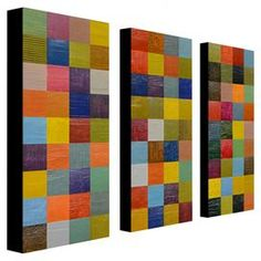 "Three-piece multicolor canvas art set by Michelle Calkins.  Product: 3 Piece wall art setConstruction Material: Wood and canvasFeatures:  Reproduction of original art by Michelle CalkinsGallery wrappedHidden frame Ready to hang Dimensions: 24"" H x 10"" W each"