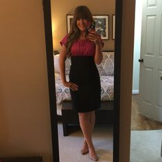 Pink and Black Dress Beautiful black and bright pink dress!  New never worn, slightly too small for me. The Limited Dresses Midi