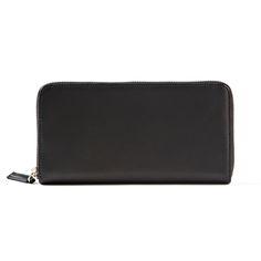 Black Zippered Continental Wallet | Full Grain Black Onyx Leather