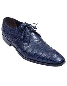 Stylish navy blue caiman belly dress shoe for men.