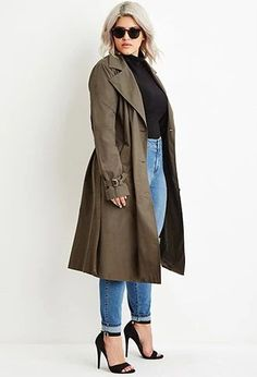 Plus Size Double-Breasted Trench Coat