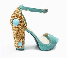 Turquoise blue and gold block sandal St Tropez shoes by Mifani