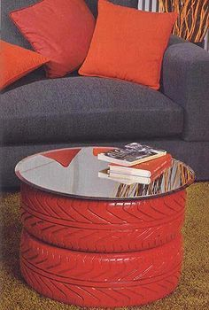 We love this use of re-purposed tires...and don't forget the pillows (man caves need comfort too)!