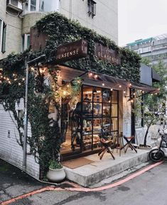 restaurant arquitectura pretty coffee shop around the corner Design Shop, Coffee Shop Design, Deco Design, Shop Front Design, Design Design, Coffee Shop Branding, Bistro Design, Coffee Shop Interior Design, Plant Design