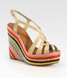 Lindsay Patent Leather Slingback Espadrille Wedge Sandals