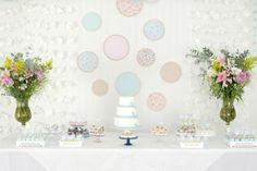 Bridal Shower, Real History, Party Decor ideas, DIY, Do It Yourself, Paper Napkin Flower Garland, Hear Garland, Pink, Blue