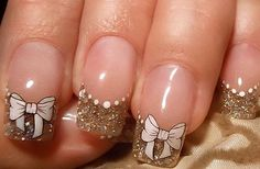 Cute Bow Nail Designs 27 Bow Nail Art When you are looking for inspirations on your nails, you will be amazed by the infinite ideas of . Nail Designs 2014, French Manicure Nail Designs, Gel Nail Art Designs, White Nail Designs, Short Nail Designs, Bow Nail Art, Bridal Nail Art, Latest Nail Art, Manicure Y Pedicure