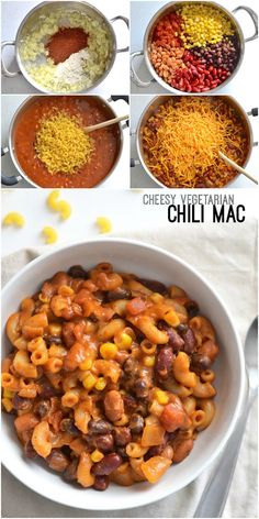 This rich and comforting Cheesy Vegetarian Chili Mac cooks in one pot and in jus. - This rich and comforting Cheesy Vegetarian Chili Mac cooks in one pot and in just about 30 minutes, - One Pot Vegetarian, Vegetarian Recipes Dinner, Veg Recipes, Cooking Recipes, Budget Recipes, Cooking Games, Healthy Vegetarian Meals, Cabbage Recipes, Meatless Chili