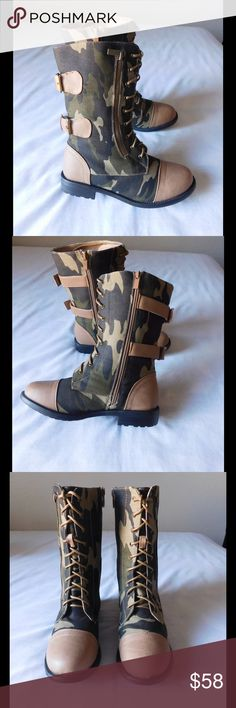Taupe/Camouflage Combat Boots W/Buckles &Zippers NWOT. These pair of boots are simply spectacular. Soft and comfy material. Gorgeous colors and exclusive design/colors. Size 8.5 - Negotiable Price. Shoes Combat & Moto Boots