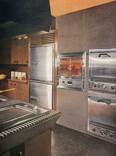 1958.  Built in refrigerator/freezer, rotisserie and double wall ovens.  Looks nice, but the controls for that bottom oven are almost on the floor.