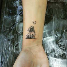 If you love Pugs and Tattoos (like we do), then why don't mix the two together? Wrist Tattoos, Cute Tattoos, Beautiful Tattoos, Body Art Tattoos, Small Tattoos, Tatoos, Clavicle Tattoo, Tatoo Pug, Bulldog Tattoo