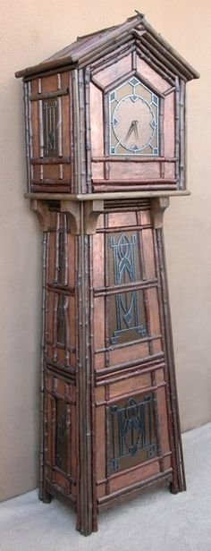 Arts & Crafts style Grandfather Clock fabricated with river cedar branches, copper clad