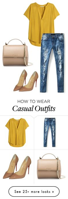 """Casual"" by mik0112 on Polyvore featuring H&M, Christian Louboutin, Givenchy and CasualChic"