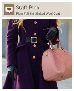 Plum Full Skirt Belted Wool Coat