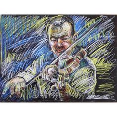 Paddy O Rourke Fiddler. This is a painting of Ardara fiddle player Paddy O'Rourke by Ardara artist Stephen Bennett.