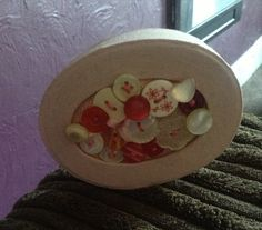Oval small papier mâché pink button decorated by SewingNikki, £4.00
