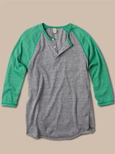 Alternative Apparel Women's 3/4-Sleeve Raglan Henley : Women