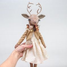 Update: SOLD Thank you very much • • • • • #lenabekh #handmadetoy #handmade #handmadedoll #softtoy #textiledoll #heirloomdoll #clothdoll #kidsroomdecor #collectibletoys #dollmaker #babyshowerdecor #fantasyart #handmadegifts #deerdoll #antlers #deer #woodlandcreatures #doe #fawn #intothewild #ohdeer #velvet #flowercrown #fabricflower #christmasgifts #anthropomorphic #softsculpture