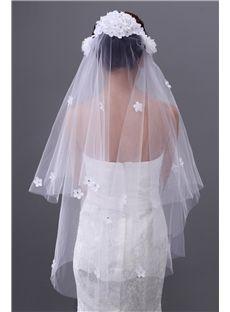 Cut Edge 3D Two Layer Mesh Wedding Veils