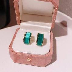 Charm Jewelry 2020 New Green Opal Stud Earrings For Women Korean Style Arc Simple Earrings Delicate Jewelry | Touchy Style Simple Earrings, Cute Earrings, Women's Earrings, Delicate Jewelry, Simple Jewelry, Charm Rings, Charm Jewelry, Earrings Handmade, Handmade Jewelry
