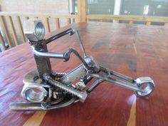 Motorcycle Rider Man Metal Art-Welded Art-Easy Rider-Scrap Metal Engine-Rebar-Pipe-Harley Davidson-Chopper by MetalDisorder on Etsy #harleydavidsonchoppersart