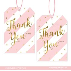 Girl Baby Shower Custom Pink Stripes /& Gold confetti Printable Favor Thank you Tags for Bags or boxes