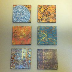 Wall art I made for our dining room from canvas, modge podge, and scrapbook paper :)