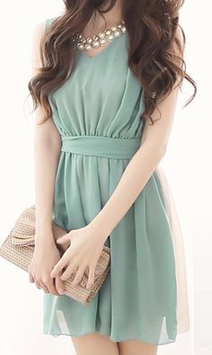 Mint in the front - blush in the back :)  Colourblocked chiffon dress