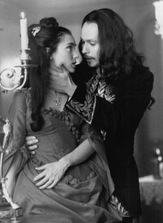 Winona Ryder and Gary Oldman in Bram Stoker's Dracula directed by Francis Ford Coppola, 1992 Gary Oldman, Frankenstein, Winona Ryder, Bram Stokers Dracula, Francis Ford Coppola, Fritz Lang, Count Dracula, Film Serie, Horror Films