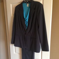 2 piece pants suit Navy and turquoise pin striped pants suit.  Blazer- size 14, pants- size 16, East 5th Other