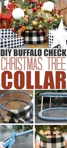 How to make your own buffalo check tree collar! You can take this same method and use any other type of fabric you'd like as well! Tree Collar Christmas, Dollar Tree Christmas, Christmas Mantels, Plaid Christmas, Country Christmas, Christmas Holidays, Christmas Crafts, Christmas Decorations, Christmas Trees
