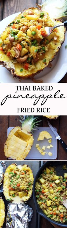 Thai Baked Pineapple Fried Rice - perfect for a romantic Valentine& dinner . I Love Food, Good Food, Yummy Food, Tasty, Vegetarian Recipes, Cooking Recipes, Healthy Recipes, Thai Food Recipes, Thai Cooking