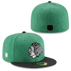 ec46bd6d459 Get this Chicago Blackhawks St. Patrick s Day Heather 5950 Fitted Cap at  WrigleyvilleSports.com