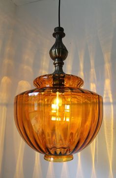 ichly Textured Huge Amber Glass Globe Mid Century Retro Design Hanging Pendant Lighting Fixture