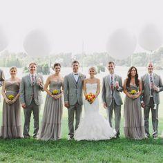 Gray Wedding Attire // photo by: Brett & Jessica // http://www.theknot.com/weddings/album/a-rustic-wedding-chapel-hill-nc-143940