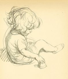 Vintage 1933 JH Dowd Children's Print - Making Sand Pies