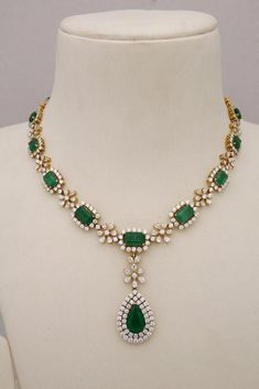 Indian Jewellery and Clothing: Diamond necklace collection from Tibarumals gems . Indian Jewellery and Clothing: Diamond necklace collection from Tibarumals gems and jewellers. Emerald Necklace, Emerald Jewelry, Diamond Jewelry, Gold Jewelry, Fine Jewelry, Diamond Necklaces, Indian Diamond Necklace, Emerald Rings, Tiffany Jewelry