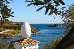 An egg and a view from Dali's house - Cadaqués,Spain