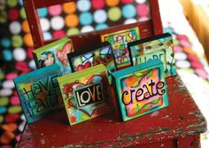 Art Blox full set of 20 by AllenDesignsStudio on Etsy Mini Canvas Art, Small Canvas, Altered Canvas, Zentangle, Mini Paintings, Canvas Paintings, Canvas Crafts, Paper Crafts, Tela