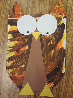 Plakboek: Painted Paper Owls - your owls last nite were amazing Murkett Graziano Kindergarten Art Lessons, Art Lessons For Kids, Art Lessons Elementary, Fall Art Projects, Animal Art Projects, Autumn Painting, Autumn Art, Owl Art, Bird Art