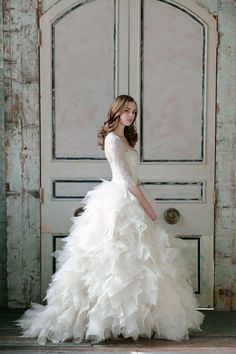 Sareh Nouri 2015 bridal collection: lace, romantic designs, lavender, and frilly perfection. Gorgeous wedding dress with sleeves and full gown 2015 Wedding Dresses, Wedding Attire, Wedding Bride, Lace Wedding, Gown Wedding, Modest Wedding, Swan Lake Wedding, Paris Wedding, Designer Wedding Gowns
