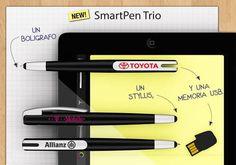Smart Pen Trio: Bolígrafo, Stylus y memoria USB. El nuevo SmartPen 3-en-1 es perfecto para escribir sobre pantallas táctiles y sobre papel. Gracias al USB disponible en versión Webkey, tendrás acceso directo a los documentos que tengas almacenados en tu Cloud de Internet.  Un regalo publicitario útil y practico, perfecto para empresas, ferias o seminarios.