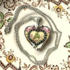 Broken china jewelry heart shaped necklace pendant antique lovebirds china