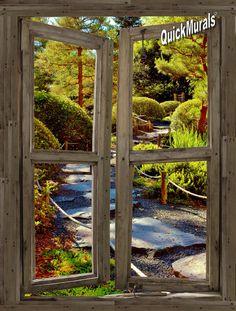 Stone Path Cabin Window Mural