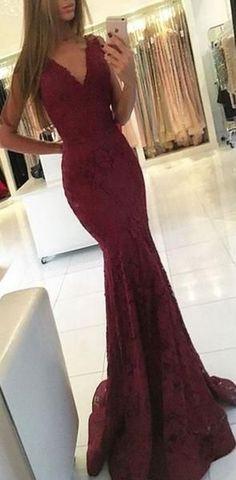 90282f9b68c Charming Elegant Mermaid Red V-Neck Prom Dresses