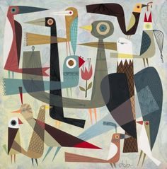A Volery of Birds by Tim Biskup.  Gouache on wood.