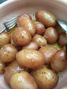 Pink potatoes in a pink bowl