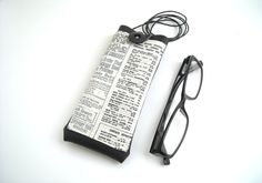 Newspaper fabric on neck eyeglass case with lanyard, black faux leather eyewear holder by Lunica http://etsy.me/2h1LXef